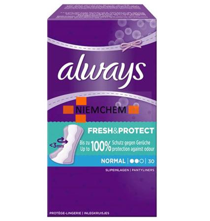 Always Fresh & Protect Rumiankowe Wkładki Higieniczne 30szt BE WYPRZEDAŻ