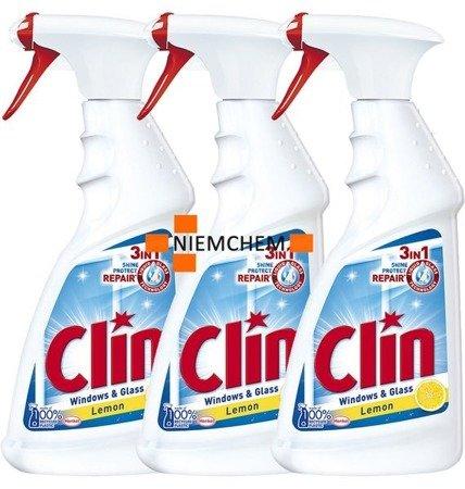 Clin 3in1 Lemon Cytrynowy Płyn do Mycia Szyb Okien 3 x 500ml PL