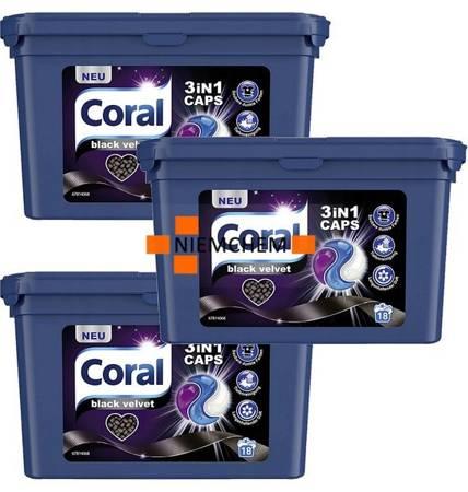 Coral 3in1 Black Velvet Kapsułki do Prania 3 x 18 = 54pr DE