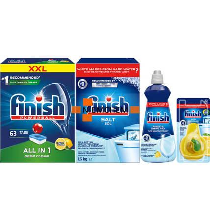 Finish Zestaw All in 1 Tabletki do Zmywarki 63szt Lemon, Sól, Nabłyszczacz, Zapach